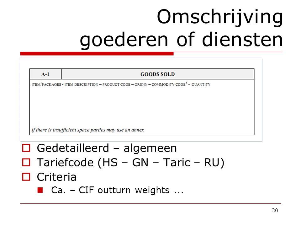 30 Omschrijving goederen of diensten  Gedetailleerd – algemeen  Tariefcode (HS – GN – Taric – RU)  Criteria Ca. – CIF outturn weights...
