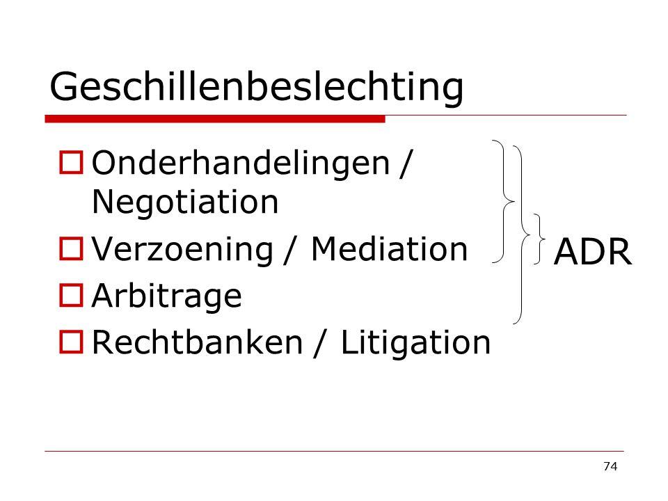74 Geschillenbeslechting  Onderhandelingen / Negotiation  Verzoening / Mediation  Arbitrage  Rechtbanken / Litigation ADR