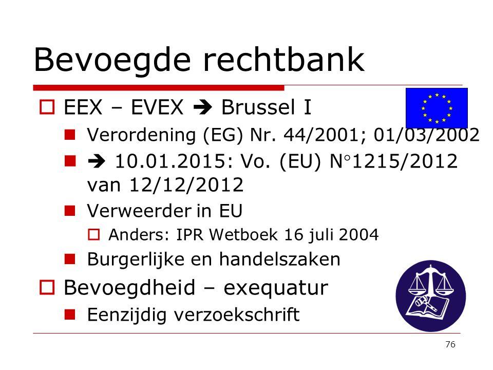 76 Bevoegde rechtbank  EEX – EVEX  Brussel I Verordening (EG) Nr. 44/2001; 01/03/2002  10.01.2015: Vo. (EU) N°1215/2012 van 12/12/2012 Verweerder i