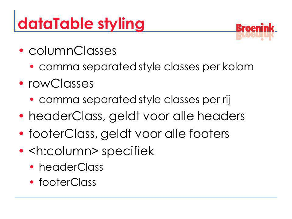 dataTable styling columnClasses comma separated style classes per kolom rowClasses comma separated style classes per rij headerClass, geldt voor alle headers footerClass, geldt voor alle footers specifiek headerClass footerClass