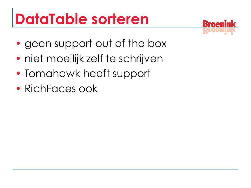 DataTable sorteren geen support out of the box niet moeilijk zelf te schrijven Tomahawk heeft support RichFaces ook