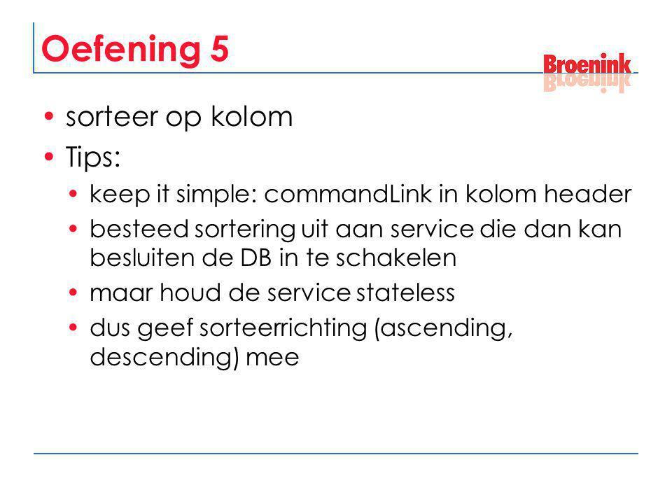 Oefening 5 sorteer op kolom Tips: keep it simple: commandLink in kolom header besteed sortering uit aan service die dan kan besluiten de DB in te scha