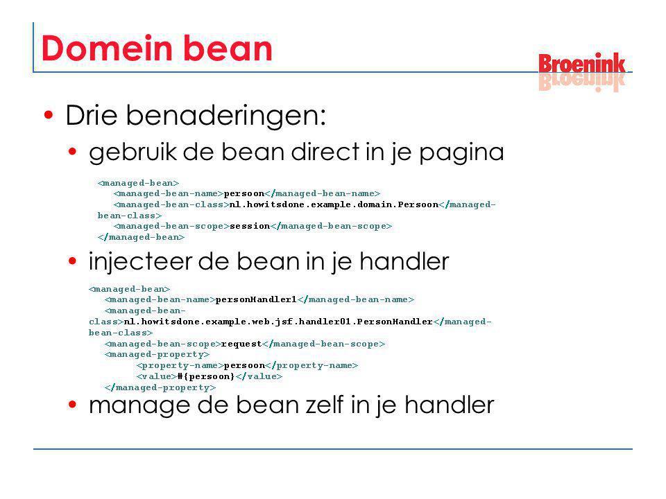 Domein bean Drie benaderingen: gebruik de bean direct in je pagina injecteer de bean in je handler manage de bean zelf in je handler