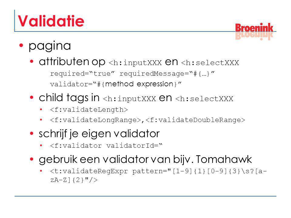 """Validatie pagina attributen op <h:inputXXX en <h:selectXXX required=""""true"""" requiredMessage=""""#{…}"""" validator=""""#{ method expression }"""" child tags in <h:"""