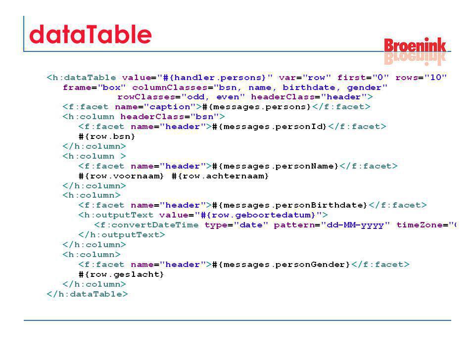 dataTable data binding value attribute Object (niet zo zinvol) array java.util.List java.sql.ResultSet javax.servlet.jsp.jstl.sql.Result javax.faces.model.DataModel var attribute hiermee kun je huidige row aanspreken
