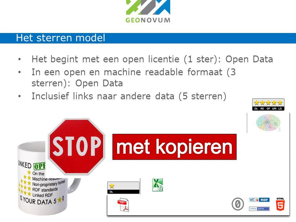 Het begint met een open licentie (1 ster): Open Data In een open en machine readable formaat (3 sterren): Open Data Inclusief links naar andere data (5 sterren) Ingrediënten voor slimme toepassingen Het sterren model