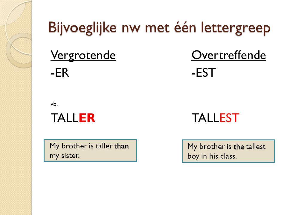 Bijvoeglijke nw met twee lettergrepen Die eindigen met: -OW: narrow -ER: clever -LE: simple -Y: funny gebruiken wij ook: VergrotendeOvertreffende -ER-EST Voorbeelden