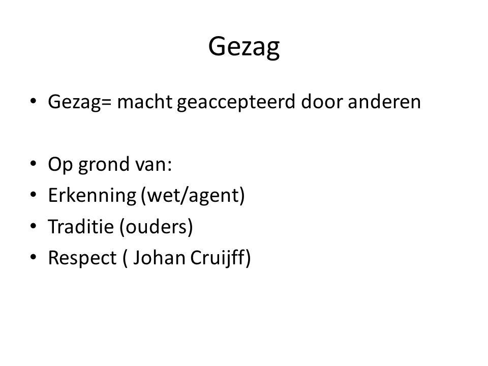 Gezag Gezag= macht geaccepteerd door anderen Op grond van: Erkenning (wet/agent) Traditie (ouders) Respect ( Johan Cruijff)