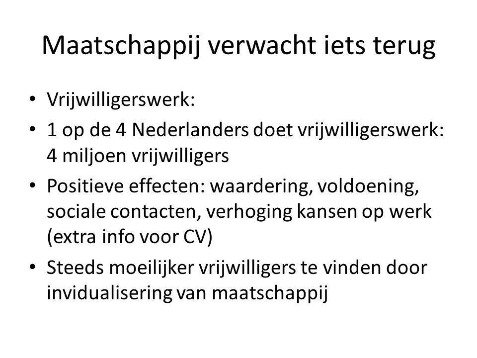 Maatschappij verwacht iets terug Vrijwilligerswerk: 1 op de 4 Nederlanders doet vrijwilligerswerk: 4 miljoen vrijwilligers Positieve effecten: waardering, voldoening, sociale contacten, verhoging kansen op werk (extra info voor CV) Steeds moeilijker vrijwilligers te vinden door invidualisering van maatschappij
