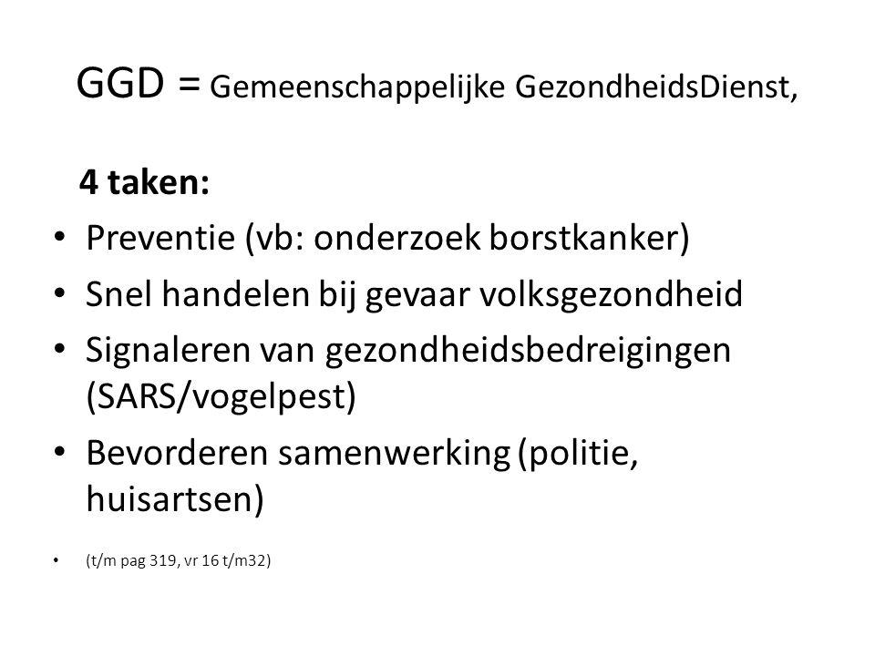 GGD = Gemeenschappelijke GezondheidsDienst, 4 taken: Preventie (vb: onderzoek borstkanker) Snel handelen bij gevaar volksgezondheid Signaleren van gezondheidsbedreigingen (SARS/vogelpest) Bevorderen samenwerking (politie, huisartsen) (t/m pag 319, vr 16 t/m32)