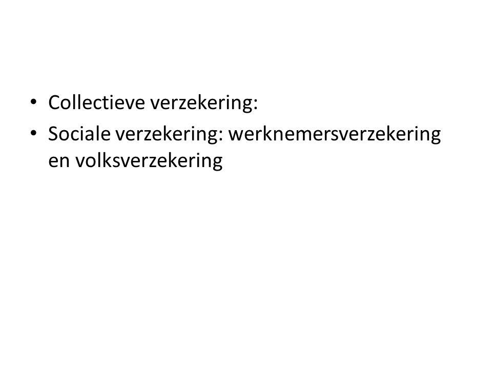Collectieve verzekering: Sociale verzekering: werknemersverzekering en volksverzekering