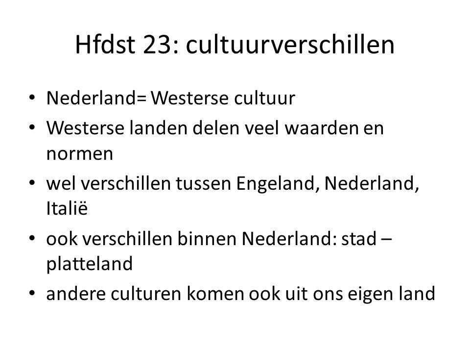 Hfdst 23: cultuurverschillen Nederland= Westerse cultuur Westerse landen delen veel waarden en normen wel verschillen tussen Engeland, Nederland, Ital