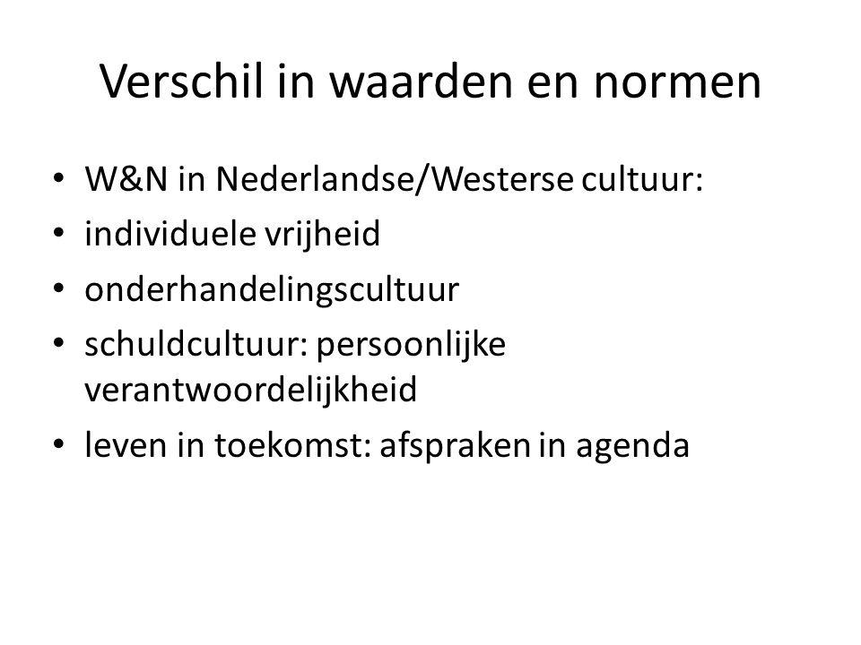 Verschil in waarden en normen W&N in Nederlandse/Westerse cultuur: individuele vrijheid onderhandelingscultuur schuldcultuur: persoonlijke verantwoord