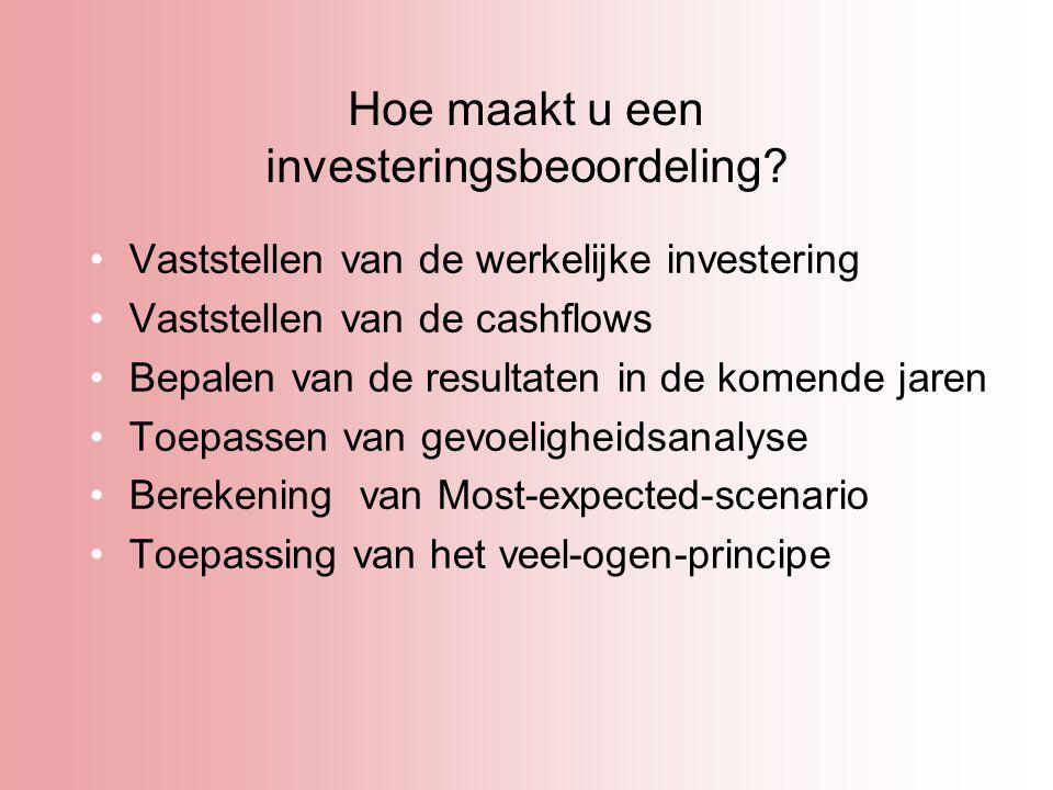 Hoe maakt u een investeringsbeoordeling? Vaststellen van de werkelijke investering Vaststellen van de cashflows Bepalen van de resultaten in de komend