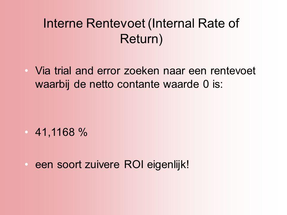 Interne Rentevoet (Internal Rate of Return) Via trial and error zoeken naar een rentevoet waarbij de netto contante waarde 0 is: 41,1168 % een soort z