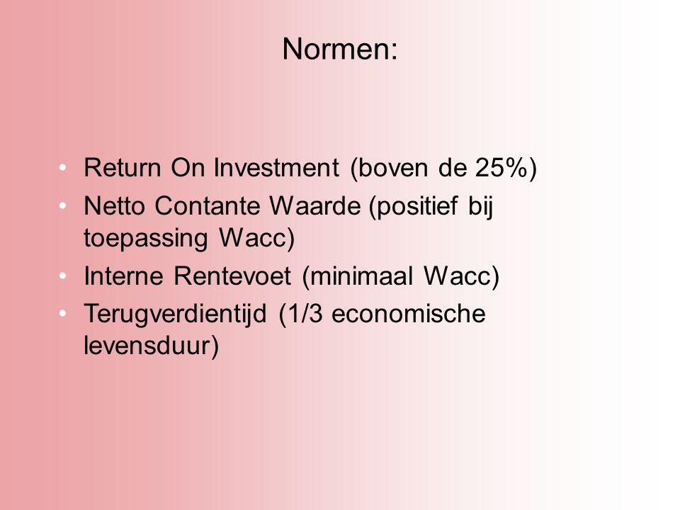 Normen: Return On Investment (boven de 25%) Netto Contante Waarde (positief bij toepassing Wacc) Interne Rentevoet (minimaal Wacc) Terugverdientijd (1