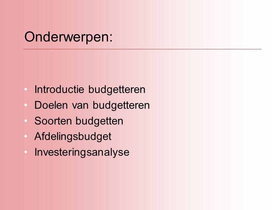Introductie budgetteren: