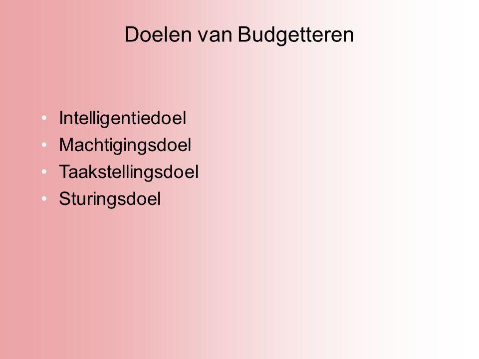 Doelen van Budgetteren Intelligentiedoel Machtigingsdoel Taakstellingsdoel Sturingsdoel
