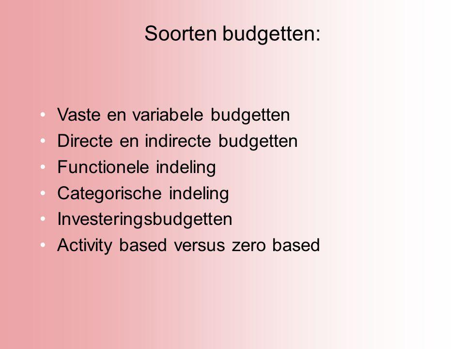 Soorten budgetten: Vaste en variabele budgetten Directe en indirecte budgetten Functionele indeling Categorische indeling Investeringsbudgetten Activi