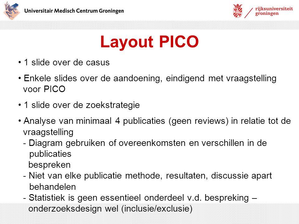Layout PICO 1 slide over de casus Enkele slides over de aandoening, eindigend met vraagstelling voor PICO 1 slide over de zoekstrategie Analyse van mi