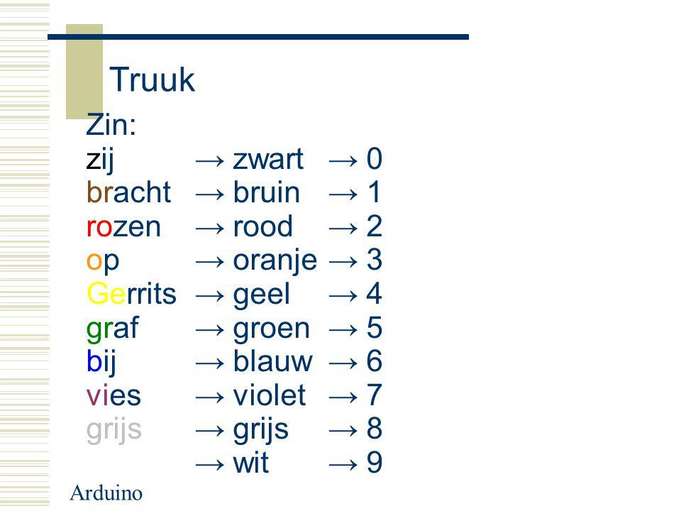 Arduino Truuk Zin: zij → zwart → 0 bracht → bruin → 1 rozen → rood → 2 op → oranje → 3 Gerrits → geel → 4 graf → groen → 5 bij → blauw → 6 vies → viol