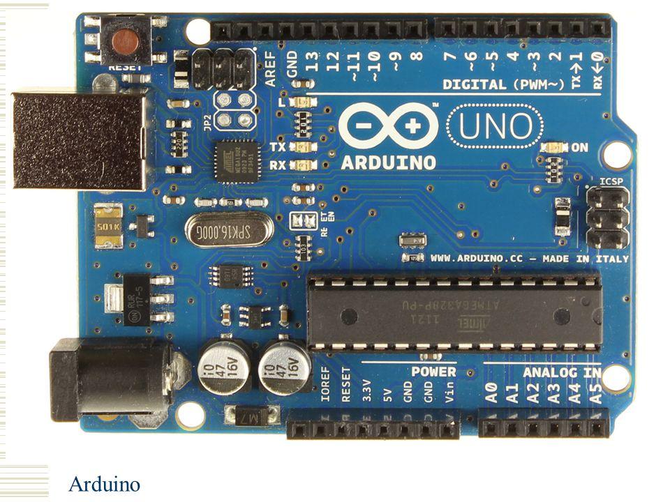 Arduino Basis elektronica Spanning: Eenheid: Volt (V) Spanning staat over een component Stroom Eenheid: Ampere (A) Stroom stroomt door een component Weerstand Eenheid: Ohm (Ω) Weerstand tegen stroom
