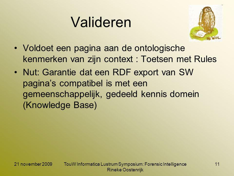 21 november 2009TouW Informatica Lustrum Symposium: Forensic Intelligence Rineke Oostenrijk 11 Valideren Voldoet een pagina aan de ontologische kenmer