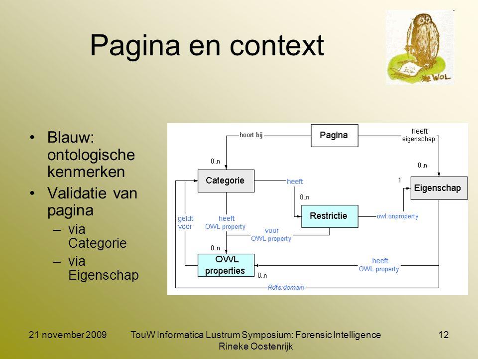 21 november 2009TouW Informatica Lustrum Symposium: Forensic Intelligence Rineke Oostenrijk 12 Pagina en context Blauw: ontologische kenmerken Validat