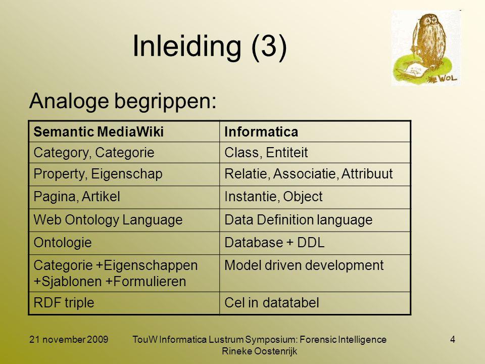 21 november 2009TouW Informatica Lustrum Symposium: Forensic Intelligence Rineke Oostenrijk 4 Inleiding (3) Analoge begrippen: Semantic MediaWikiInfor