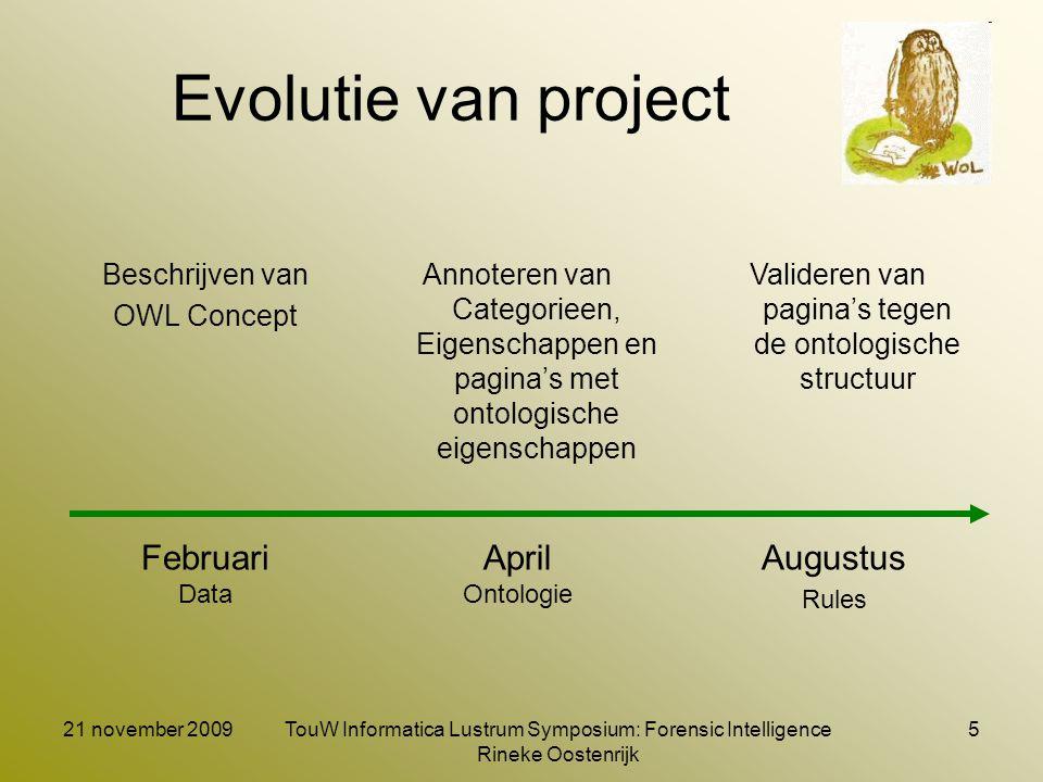 21 november 2009TouW Informatica Lustrum Symposium: Forensic Intelligence Rineke Oostenrijk 5 Evolutie van project Beschrijven van OWL Concept Augustu