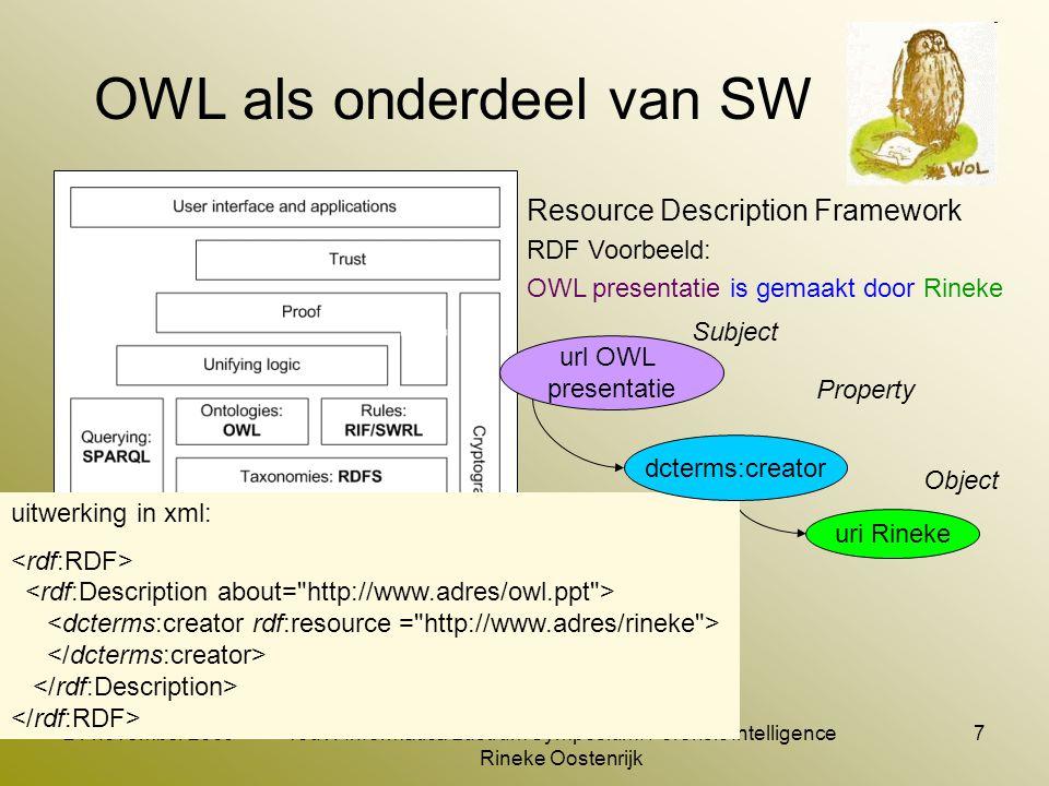 21 november 2009TouW Informatica Lustrum Symposium: Forensic Intelligence Rineke Oostenrijk 8 OWL toepassen in SMW datamodel (beschrijvend) OWL Concept in 'onze SMW'