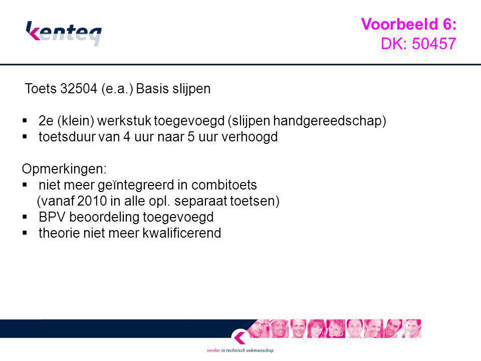 Toets 32504 (e.a.) Basis slijpen  2e (klein) werkstuk toegevoegd (slijpen handgereedschap)  toetsduur van 4 uur naar 5 uur verhoogd Opmerkingen:  n