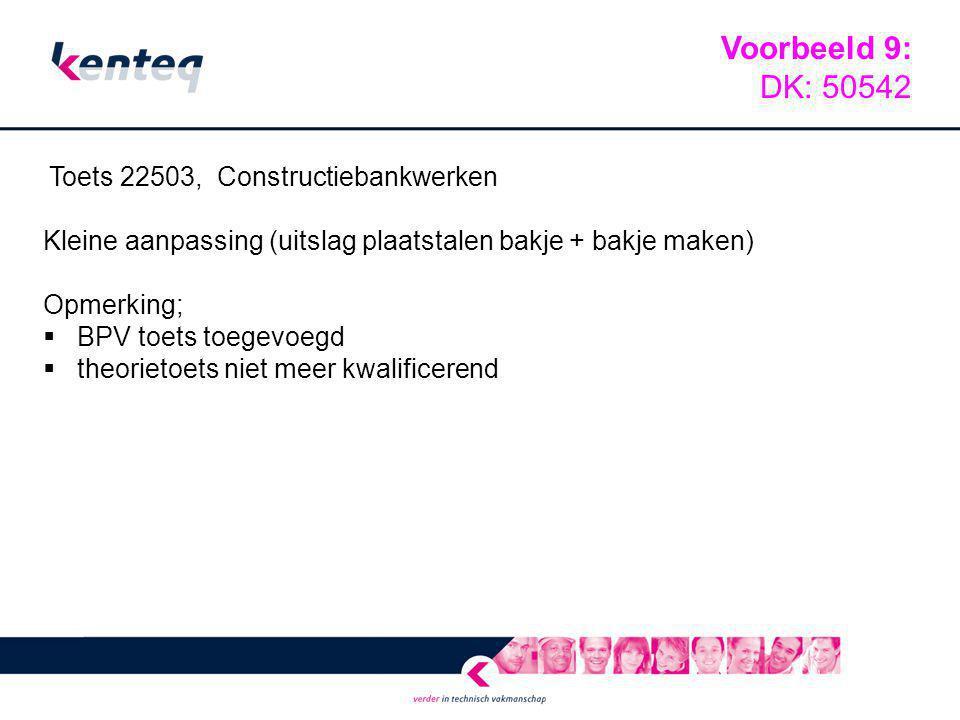 Toets 22503, Constructiebankwerken Kleine aanpassing (uitslag plaatstalen bakje + bakje maken) Opmerking;  BPV toets toegevoegd  theorietoets niet m