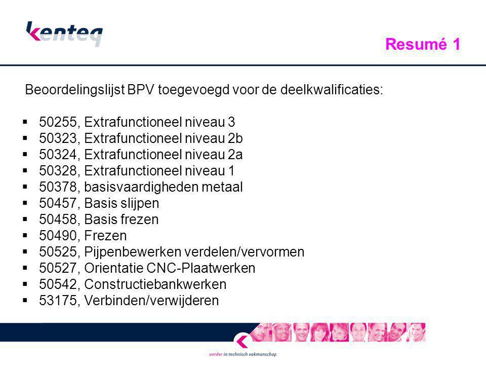 Beoordelingslijst BPV toegevoegd voor de deelkwalificaties:  50255, Extrafunctioneel niveau 3  50323, Extrafunctioneel niveau 2b  50324, Extrafunct