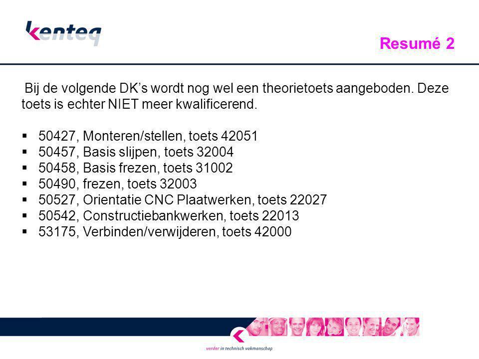 Bij de volgende DK's wordt nog wel een theorietoets aangeboden. Deze toets is echter NIET meer kwalificerend.  50427, Monteren/stellen, toets 42051 