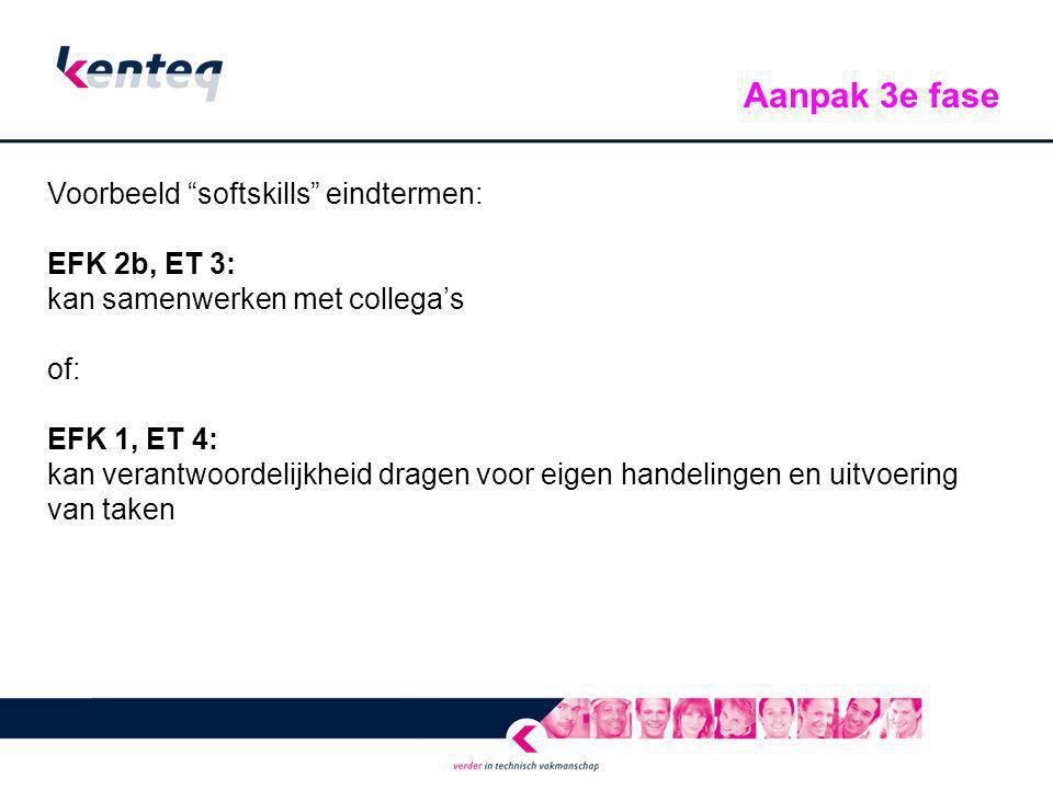 """Voorbeeld """"softskills"""" eindtermen: EFK 2b, ET 3: kan samenwerken met collega's of: EFK 1, ET 4: kan verantwoordelijkheid dragen voor eigen handelingen"""