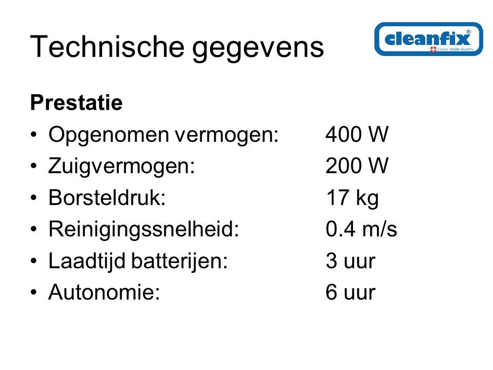 Technische gegevens Prestatie Opgenomen vermogen:400 W Zuigvermogen:200 W Borsteldruk:17 kg Reinigingssnelheid:0.4 m/s Laadtijd batterijen:3 uur Autonomie:6 uur