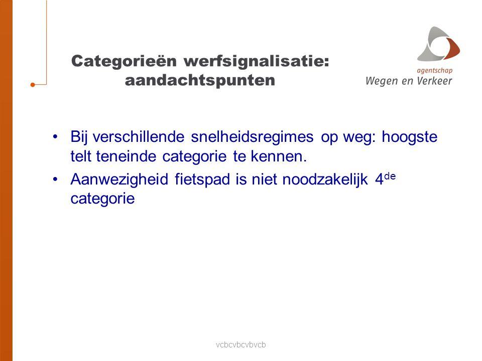 vcbcvbcvbvcb Categorieën werfsignalisatie: aandachtspunten Bij verschillende snelheidsregimes op weg: hoogste telt teneinde categorie te kennen.