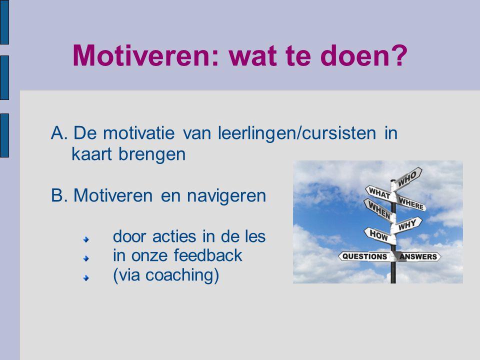 Motiveren: wat te doen? A. De motivatie van leerlingen/cursisten in kaart brengen B. Motiveren en navigeren door acties in de les in onze feedback (vi