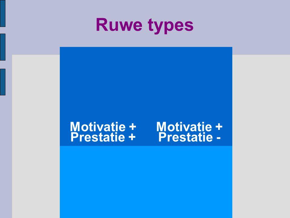 Ruwe types Motivatie + Prestatie + Motivatie + Prestatie - Motivatie - Prestatie + Motivatie - Prestatie -