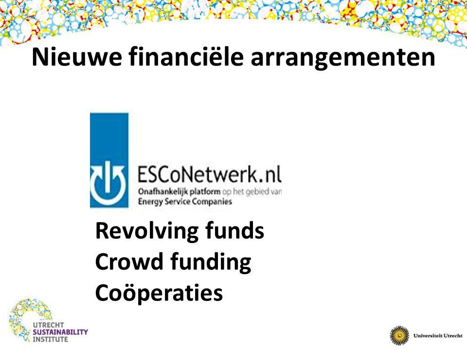 Nieuwe financiële arrangementen Revolving funds Crowd funding Coöperaties