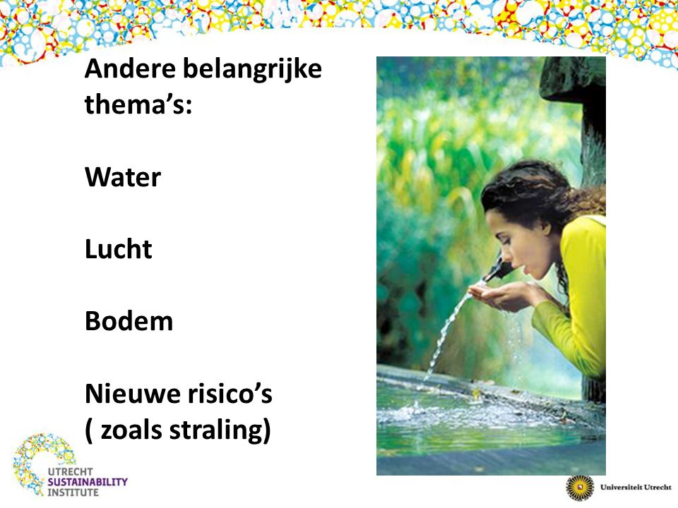 Andere belangrijke thema's: Water Lucht Bodem Nieuwe risico's ( zoals straling)