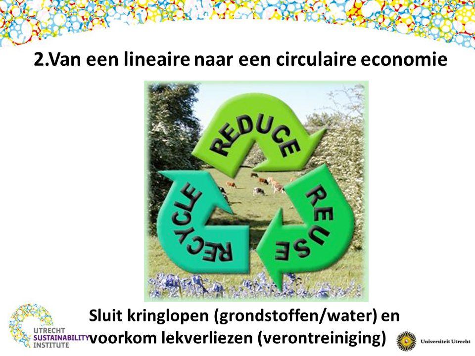 Sluit kringlopen (grondstoffen/water) en voorkom lekverliezen (verontreiniging) 2.Van een lineaire naar een circulaire economie