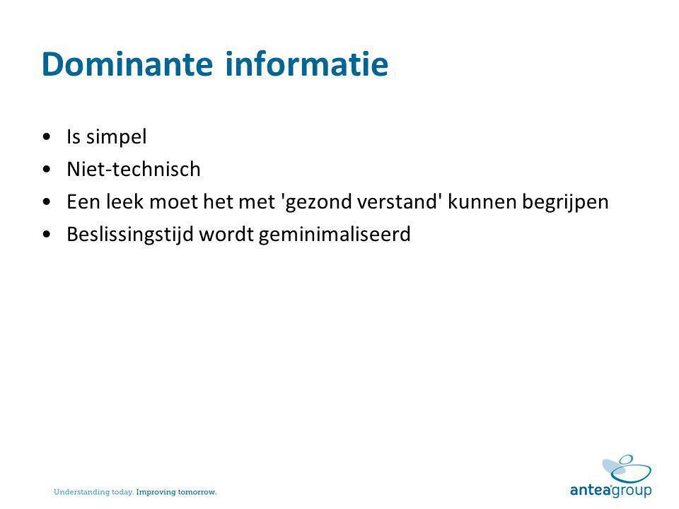 Dominante informatie Is simpel Niet-technisch Een leek moet het met 'gezond verstand' kunnen begrijpen Beslissingstijd wordt geminimaliseerd