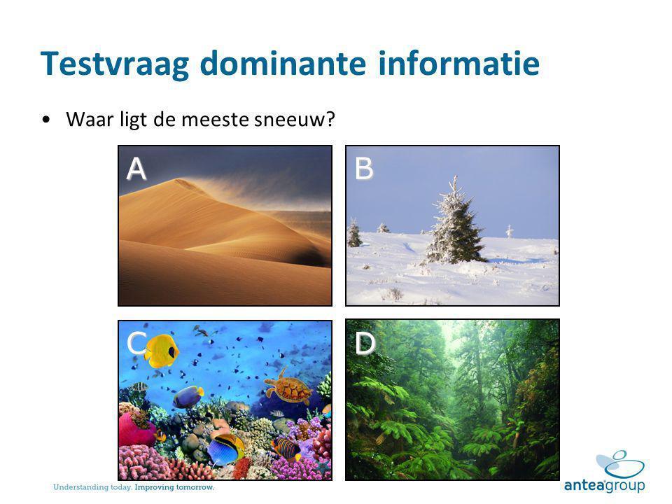Testvraag dominante informatie Waar ligt de meeste sneeuw? AB CD
