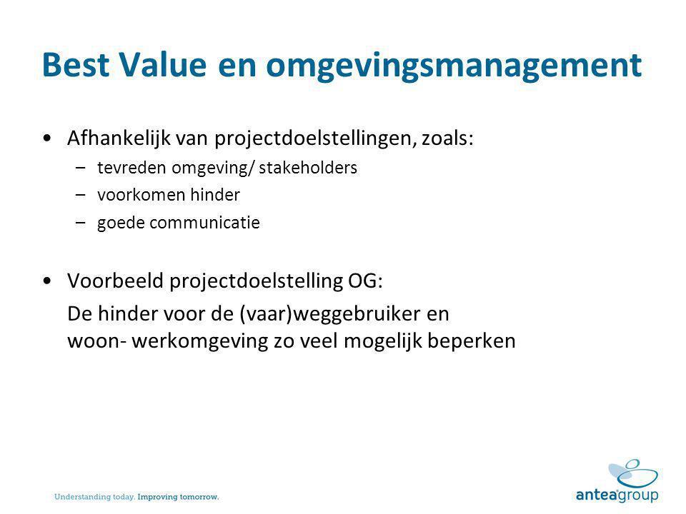 Best Value en omgevingsmanagement Afhankelijk van projectdoelstellingen, zoals: –tevreden omgeving/ stakeholders –voorkomen hinder –goede communicatie
