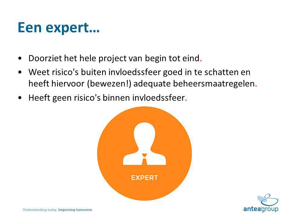Een expert… Doorziet het hele project van begin tot eind. Weet risico's buiten invloedssfeer goed in te schatten en heeft hiervoor (bewezen!) adequate