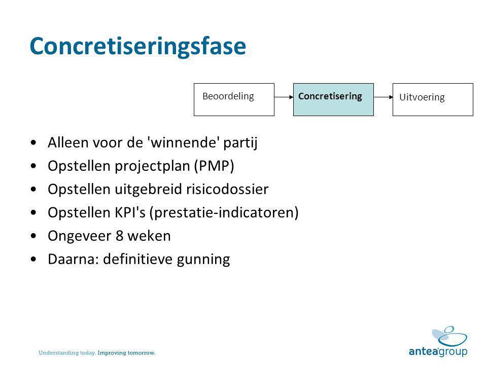 Concretiseringsfase Alleen voor de 'winnende' partij Opstellen projectplan (PMP) Opstellen uitgebreid risicodossier Opstellen KPI's (prestatie-indicat