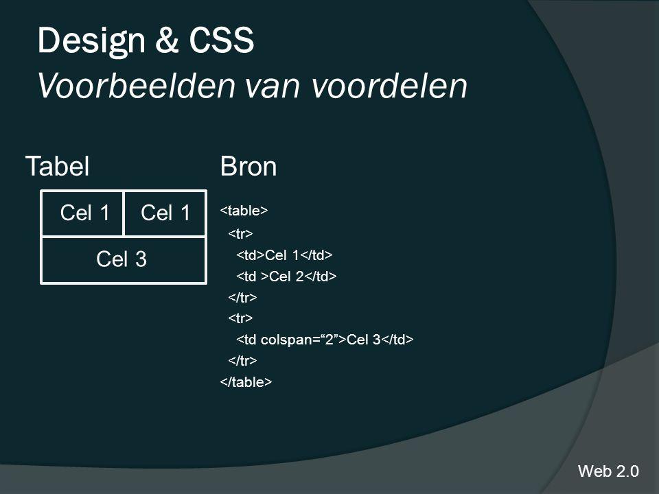 Design & CSS Voorbeelden van voordelen TabelBron Cel 1 Cel 2 Cel 3 Web 2.0 Cel 1 Cel 3