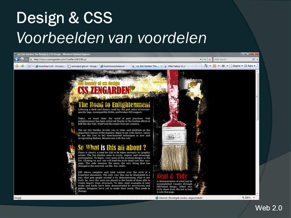 Design & CSS Voorbeelden van voordelen Web 2.0